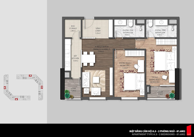 Thiết kế căn hộ A3 - 81,6m2 chung cư The Emerald