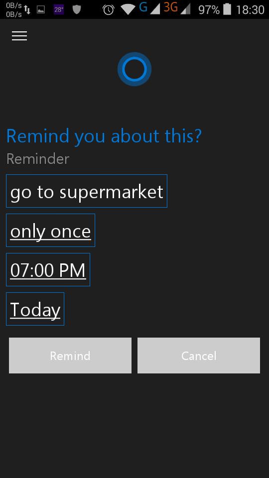 Bạn cũng có thể dùng Cortana để nhắc nhở, ví dụ như