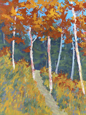 art painting autumn fall foliage aspen trees mountain