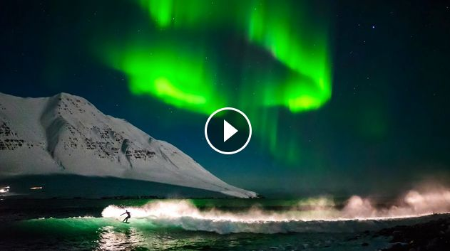 Surfing Under Northern Lights That s Amazing