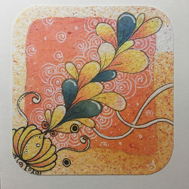 Watercolour Zentangle for Travelling Tangles Project by Barb Mavraganis and Stephanie Jennifer 02