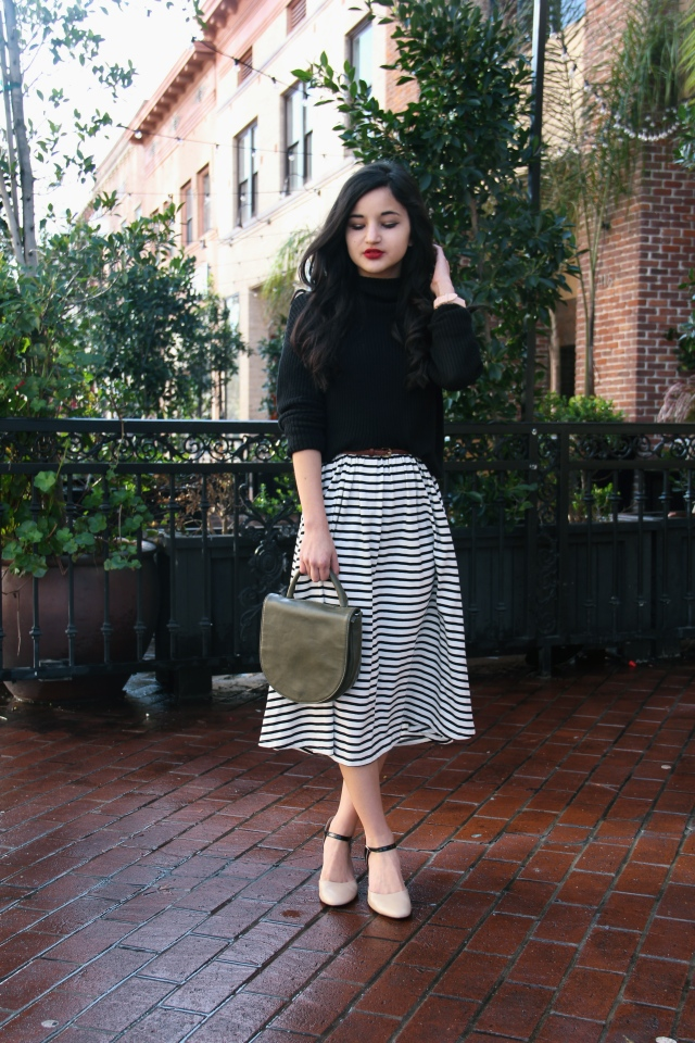 striped midi skirt mock neck sweater who what wear for target parisian outfit