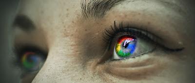 Iris de ojos con los colores de Google