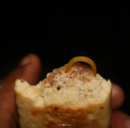Eww...man finds rubber band in his beef sausage roll (photos)
