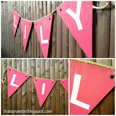 giant wood bunting with kids name