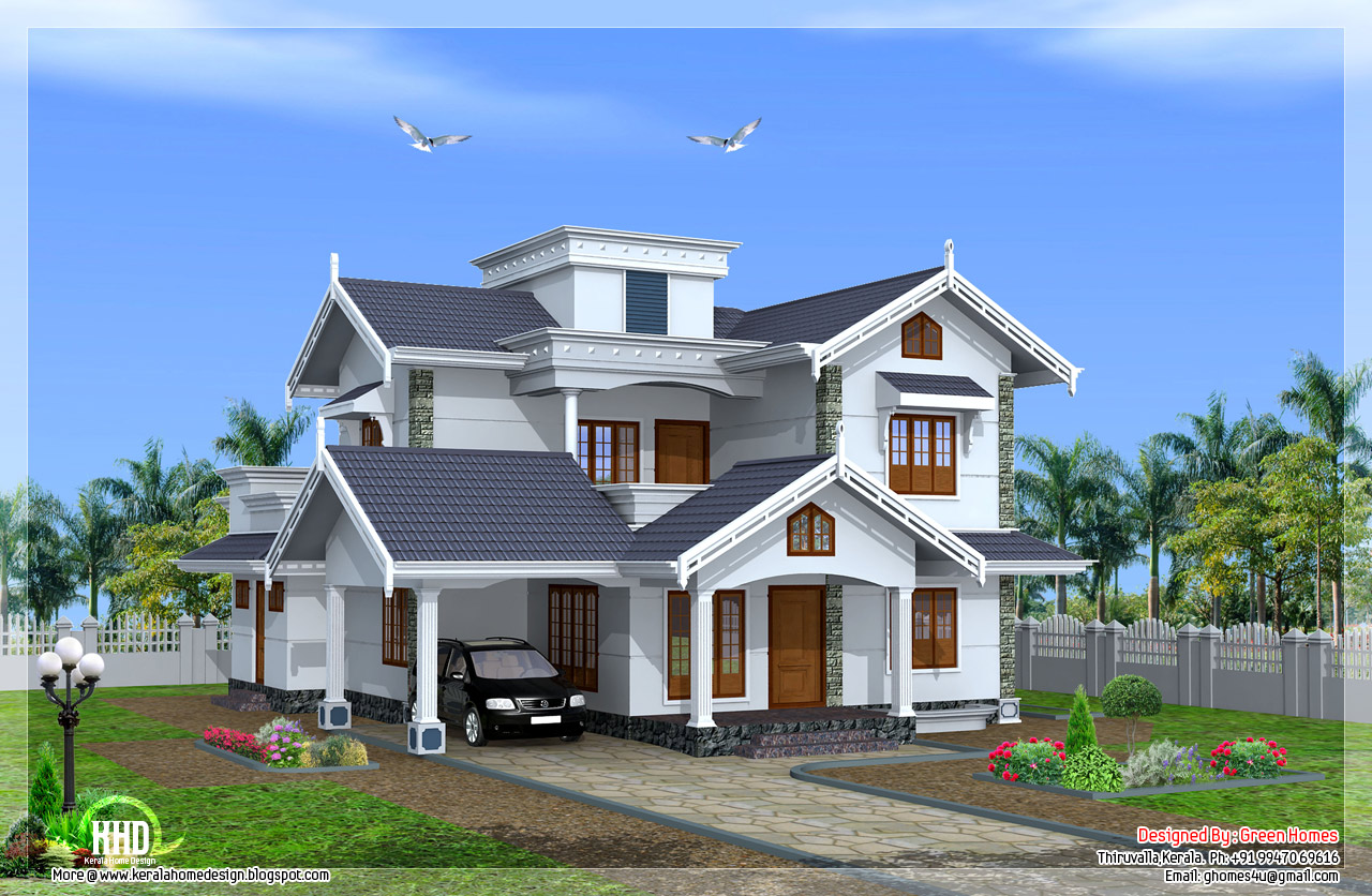 Kerala style beautiful 4 bedroom villa kerala home for Beautiful farmhouse plans