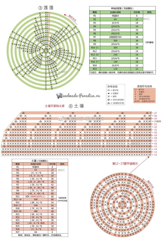 Схемы вязания лотосов (4)
