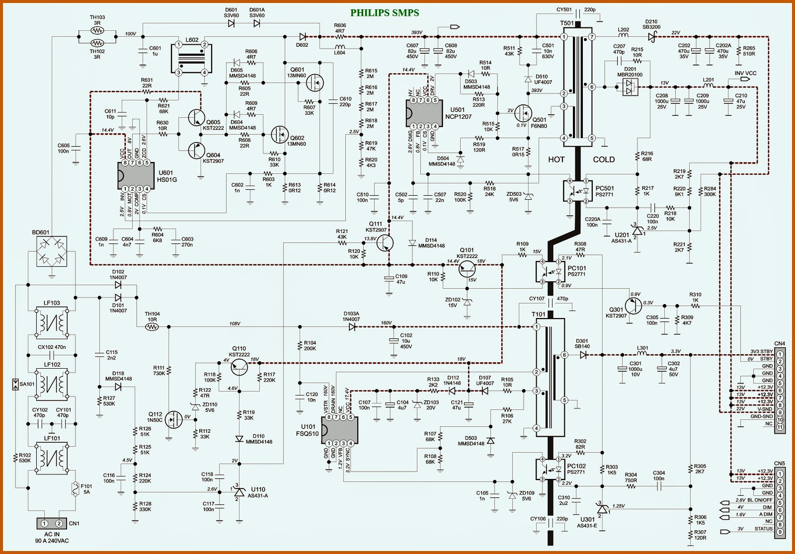 tv power suply repair circuit board diagram