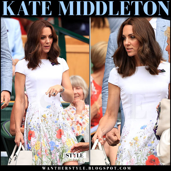 Kate Middleton in white floral print dress in Wimbledon july 16 2017 celebrity style