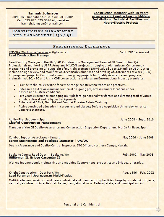 lead construction manager sample resume format in word