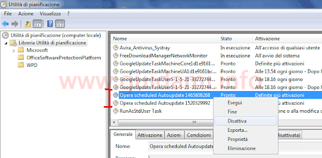 Utilità di pianificazione Windows disattivare attività Opera Autoupdate