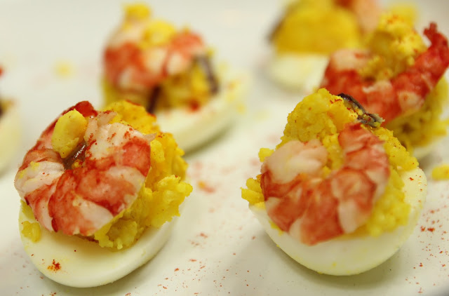 Prawn Kedgeree Stuffed Eggs. Gluten-free Hot Appetiser Recipe