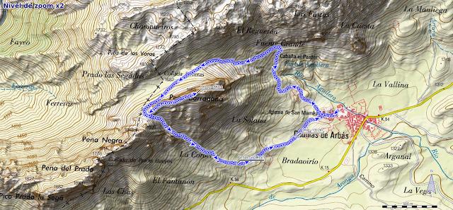 Ruta a la Barragana: Mapa de la ruta a la Peña Barragana desde Cubillas de Arbas