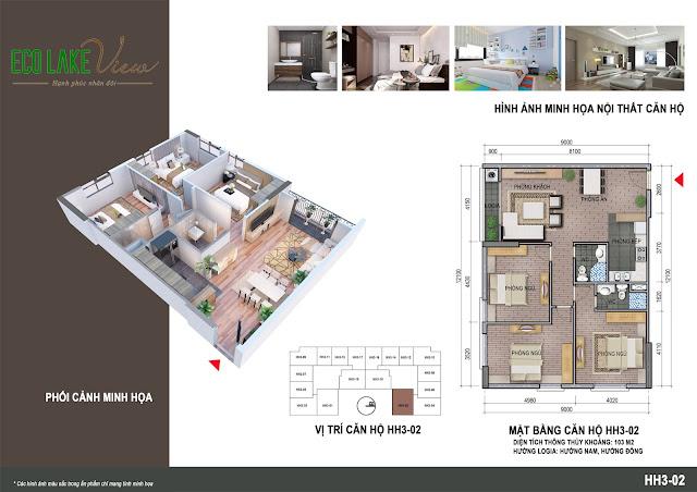 Thiết kế căn hộ số 02 tòa HH03