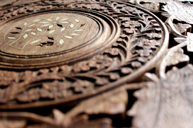 carved wood and ivory inlay
