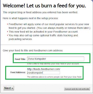 Halaman saat memasukkan judul dan alamat feedburner