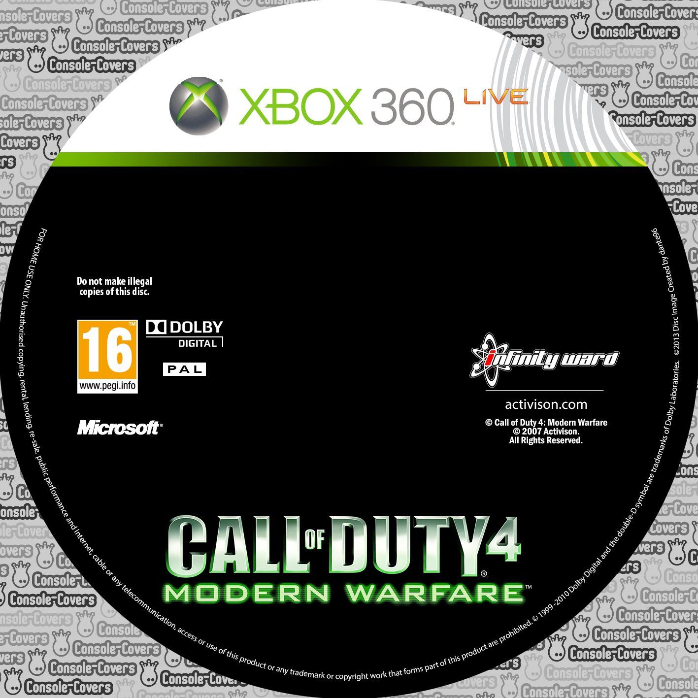 Label Call Of Duty 4 Modern Warfare Xbox 360