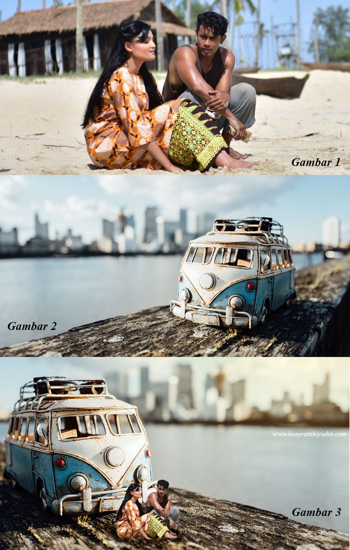 miniature photography, filem pulang 2018, remy ishak, puteri aishah, edit photoshop, miniature photography guna photoshop,