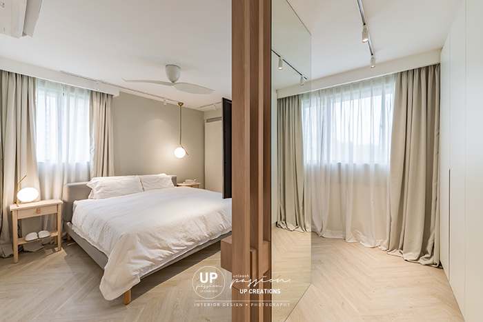 Mont Kiara Pines condo master bedroom separate with a feature divider in full height mirror and wood strips