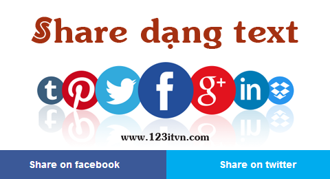 Code share facebook, twitter, google plus dạng text cho blogspot