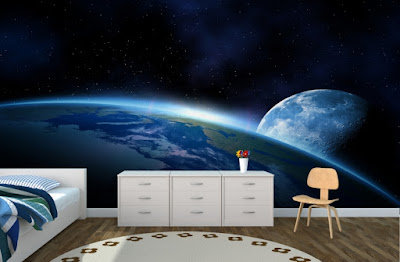 häftig tapet jorden månen rymden fototapet sovrum ungdomsrum 3d