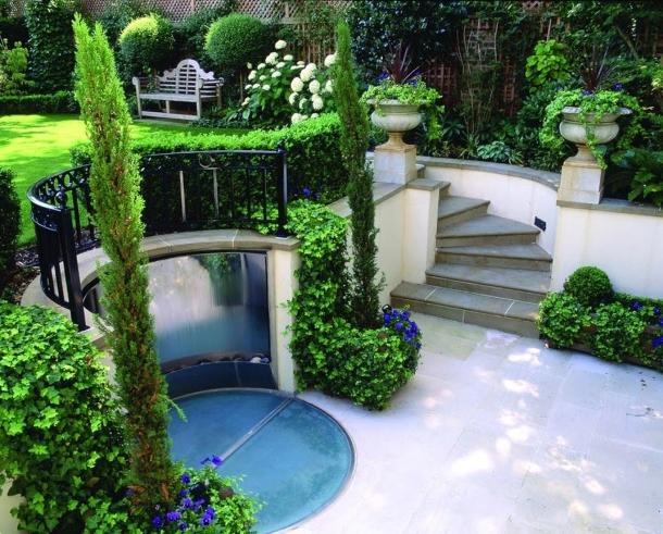 дизайн двора с разными уровнями