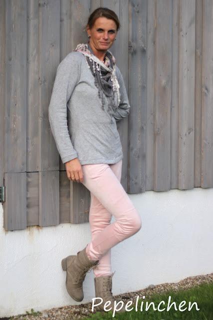 Cassie Pants aus Waschleder Suede in soft-pink