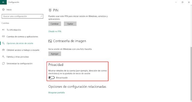 Quitar correo en pantalla de bloqueo de Windows 10