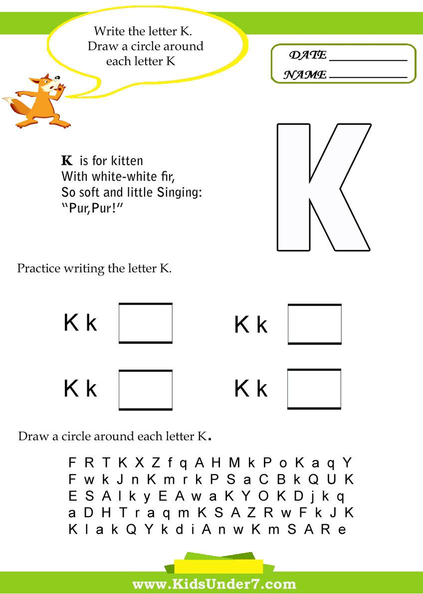 Kids Under 7 Letter K Worksheets