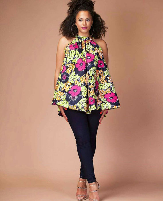 ankara tops and black jeans (1)