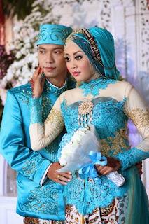 Contoh Model Baju Pengantin Muslim Warna Biru Dan Biru Tosca