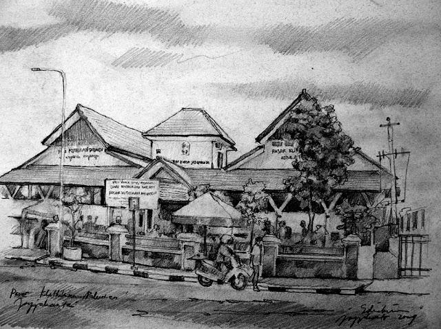 Sketsa Pasar Klitikan Pakuncen Jogjakarta