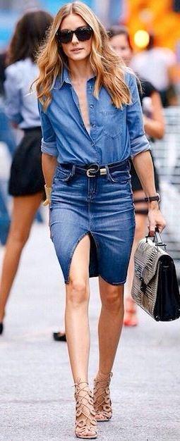 denim on denim outfit_shirt + skirt + bag + heels