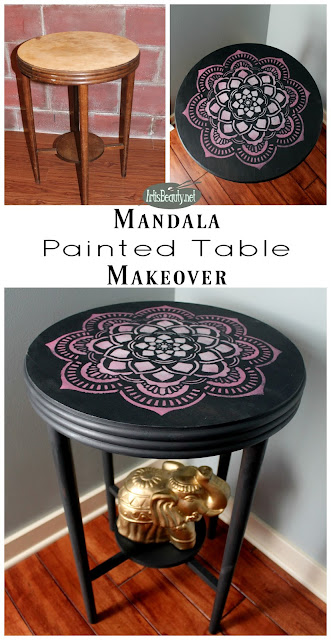 Hand painted furniture. Boho style. Mandala design. Bohemian furniture.