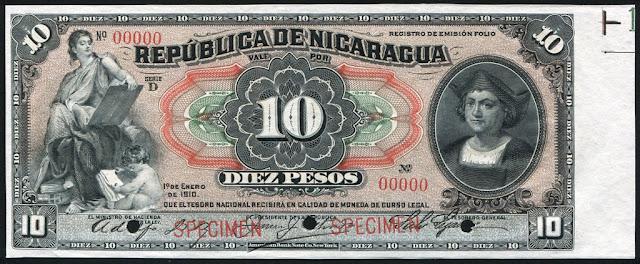 Nicaraguan currency money 10 Pesos Banknote