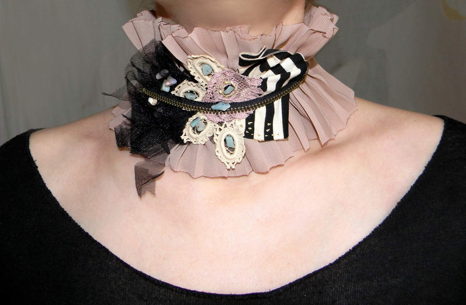 Textile Neck Piece Fancy Gothic Choker Ruffled and Pleated Nude Collar