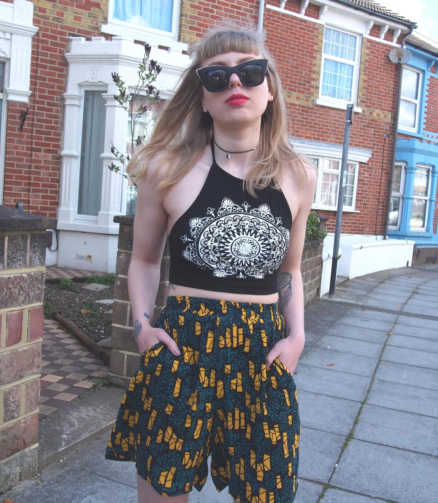 spring summer outfit inspiration, clashing prints, culottes, mandala halter neck top, nike air force 1, alternative style inspiration, 90s style fashion, quay sunglasses