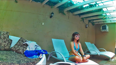 two piece swimsuit swimming pool sunglasses on happy smiling lady girl woman asian with bangs sitting with crossed legs-photos of the week may 2014 sexyfoosa blog -  for free use - please backlink us thanks