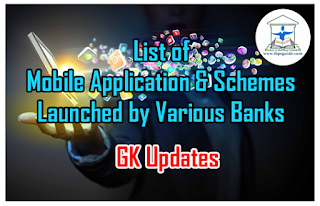 List of Mobile Application and Schemes Launched by Various Banks – GK Updates
