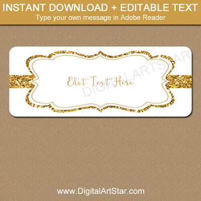printable gold glitter address label template