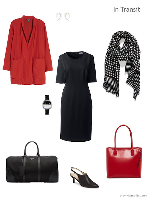 business travel outfit in black and red