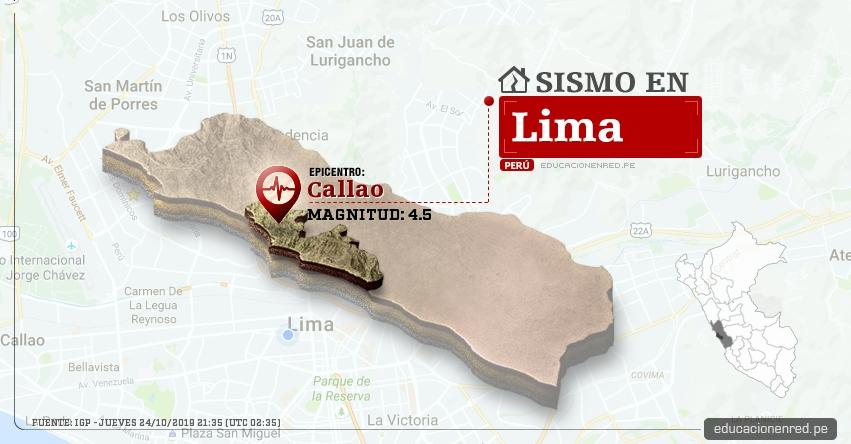 Temblor en Lima de Magnitud 4.5 (Hoy Jueves 24 Octubre 2019) Sismo - Epicentro - Callao - IGP - www.igp.gob.pe