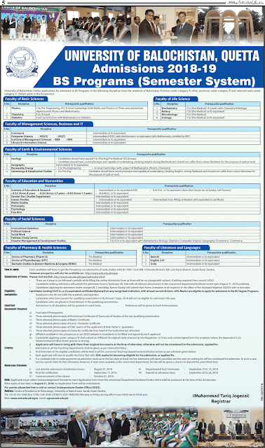 Admission, Scheduled of Admission, Balochistan, BS Programs, Eligibility, Faculties, Method of Applying, Important Instructions, University of Balochistan, UoB,