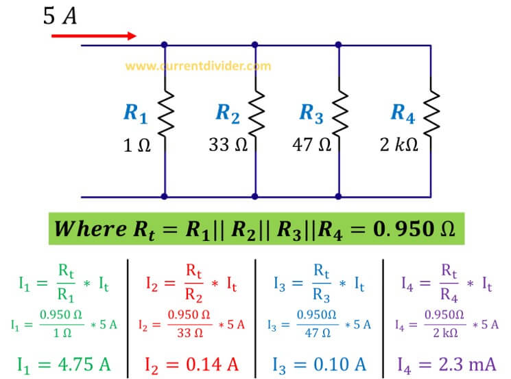 current divider rule for four parallel resistors solved