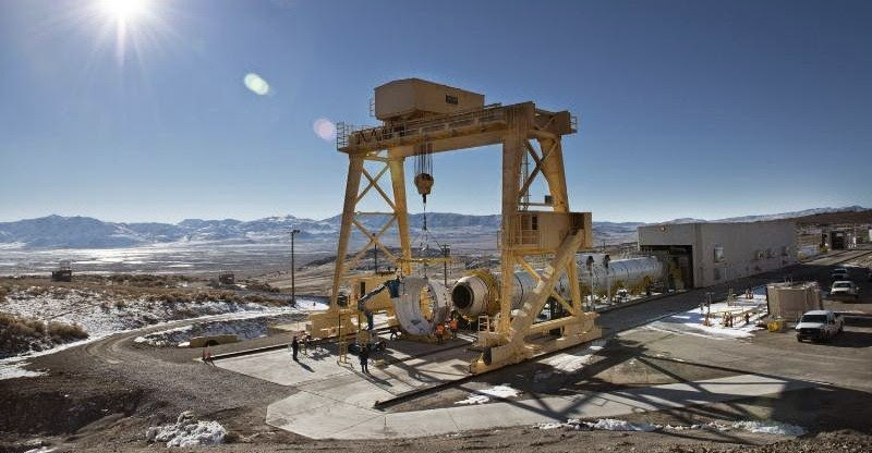 s exam stand upward inward Utah as well as is create for a March  NASA as well as ATK Complete Installation of World's Largest Solid Rocket Motor for Ground Test