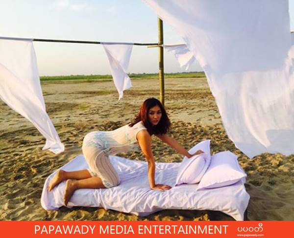 Lu Lu Aung Photo Shooting At The Beach In White Outfit and Bikini Fashion