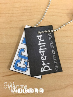 Creating a tag with the students' names helps to clear up confusion on whose necklace it is.