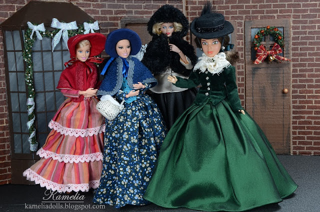 Handmade clothes for Barbie dolls inspired by 19th century fashion.