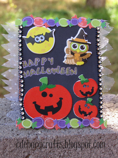 Handmade halloween card for kids featured on CdeBaca Crafts.