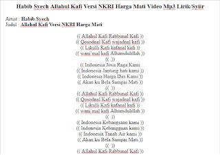 Habib Syech Allahul Kafi Versi NKRI Harga Mati Video Mp Habib Syech Allahul Kafi Versi NKRI Harga Mati Video Mp3 Lirik/Syiir